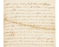 3. alembert. lettre autographe à mme du deffand. paris, 27 janvier 1753. 3 p. in-4.