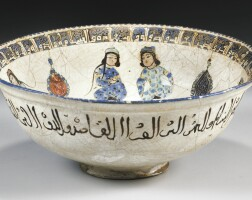 8. a kashan minai pottery bowl with enthroned figure, persia, 13th century
