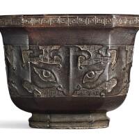 3504. a zitan archaistic octagonal cup qing dynasty, 18th century |