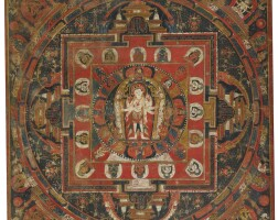912. a paubha depicting amoghapasha nepal, circa 15th century |