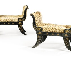 1. a pair of gilt-bronze mounted black painted wooden benches, first half 19th century