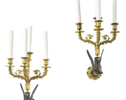 2. a pair of empire ormolu and patinated bronze four-branch wall-lights circa 1810
