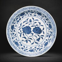 17. a blue and white 'peony' dish ming dynasty, yongle period