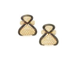 510. pair of 18 karat gold, diamond and enamel earclips