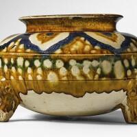 3. a sancai and blue-glazed pottery tripod jar tang dynasty