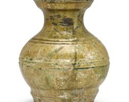 301. a green-glazed pottery vase, hu han dynasty