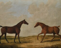 28. attributed to james barenger | two hunters in a landscape